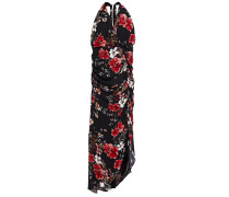 Asymmetric Ruched Leopard-print Silk-crepe Dress