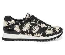 Leather-trimmed Printed Cotton-canvas Sneakers Schwarz