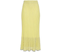Metallic Striped Crochet-knit Cotton-blend Midi Skirt