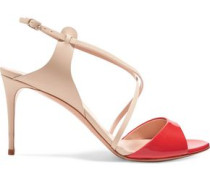 Two-tone patent and smooth leather sandals
