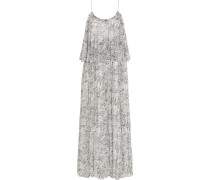 Wind Mael Printed Crinkled Silk-georgette Maxi Dress Elfenbein