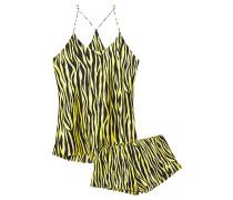 Bella Zebra-print Silk-satin Pajama Set
