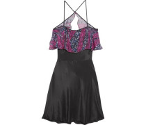 Tiered cutout silk coverup