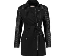 Keanu Quilted Leather-paneled Cotton Trench Coat Schwarz