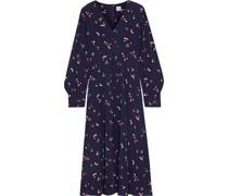 Alesha Printed Crepe De Chine Midi Dress