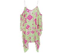Cold-shoulder Printed Voile Mini Dress