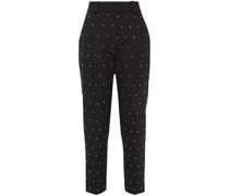 Cropped Crystal-embellished Twill Tapered Pants