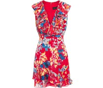 Ruffled Burnout Crepe De Chine Mini Dress