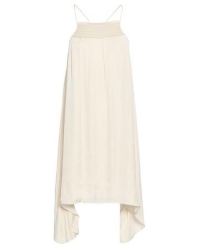 Shirred Crepe De Chine Mini Dress Cream