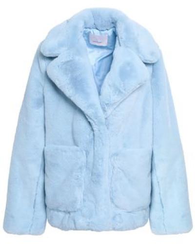 Woman Faux Fur Coat Light Blue