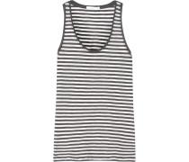 Kathie Striped Cotton-jersey Pajama Top Anthrazit