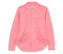 Ruffle-trimmed cotton shirt