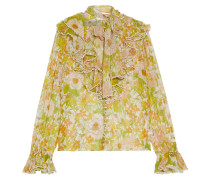 Super Eight Pussy-bow Ruffled Floral-print Silk-chiffon Blouse