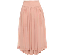 Gathered Silk-georgette Midi Skirt