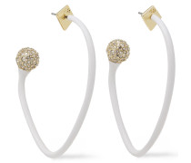 Gold-tone, Resin And Crystal Hoop Earrings