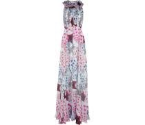 Printed Silk-chiffon Gown Hellgrau