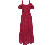 Cold-shoulder Belted Printed Silk-blend Midi Dress