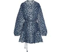 Jen Minikleid aus Seiden-georgette mit Leopardenprint und Gürtel