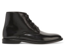 Kat Lace-up Patent-leather Ankle Boots Schwarz