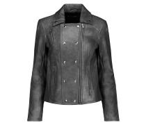 Valo Leather Biker Jacket Stahlgrau
