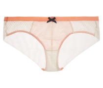 Leise Low-rise Lace And Stretch-tulle Briefs Pastellorange