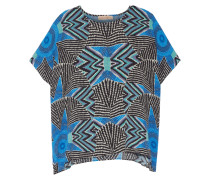 Printed Crepe Top Blau
