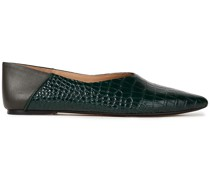 Anoud Croc-effect Leather Collapsible-heel Point-toe Flats