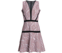 Mesh-paneled lace mini dress