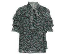 Woman Louisa Pussy-bow Floral-print Silk-blend Fil Coupé Top Black