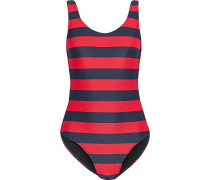 Woman Striped Swimsuit Red