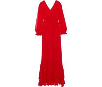 Pleated Ruffled Chiffon Gown