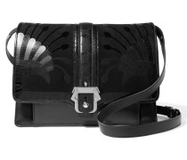Caroline Suede, Smooth And Croc-effect Leather Shoulder Bag Schwarz