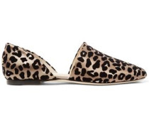 Globe Flocked Leopard-print Satin Flats Animal Print
