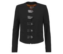 Vinnie Embellished Faux Leather-trimmed Stretch-knit Jacket Schwarz