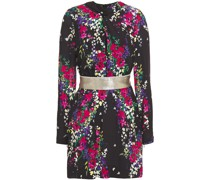 Twist-front Floral-print Silk-blend Crepe Mini Dress