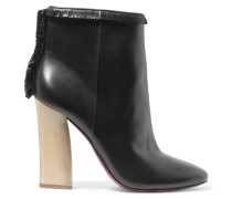 Bandelier Fringed Leather Ankle Boots Schwarz