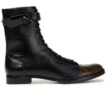 Evelyn Bow-embellished Smooth And Snake-effect Leather Combat Boots