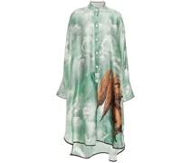 Oversized Printed Silk-satin Night Dress