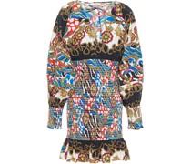 Anya Shirred Printed Cotton-poplin Mini Dress
