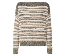 Striped knitted cotton-blend sweater