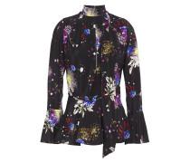 Wrap-effect Floral-print Silk Crepe De Chine Top