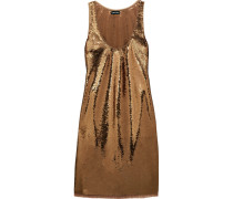 Sequined Stretch-tulle Mini Dress Gold