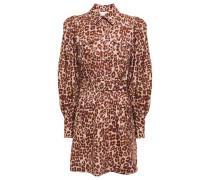 Belted Printed Linen Mini Shirt Dress