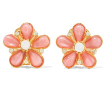 Gold-tone Resin And Crystal Earrings Pastellrosa