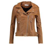 Leather Biker Jacket Hellbraun