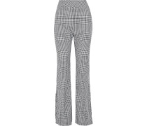 Woman Button-detailed Gingham Wool Bootcut Pants Gray