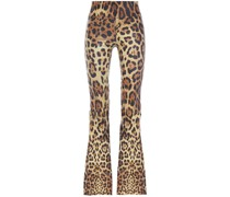 Leopard-print Stretch-leather Flared Pants