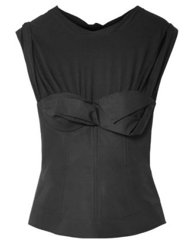 Knotted Jersey-paneled Cotton-poplin Top Black