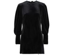 Gwen Zip-detailed Velvet Mini Dress Black Size 0