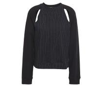 Lift Cutout Pinstriped Modal-blend Sweatshirt